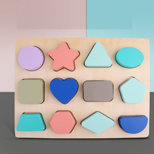Learning Shapes Wooden Jigsaw Puzzle Toy Children Kids Baby Learning Educational