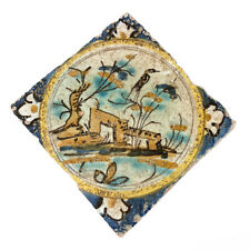 Dutch Delft Polychrome Tile with Landscape, Farm Buildings and Bird on a Branch