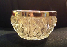 """CRYSTAL BOWL WITH SILVER-PLATE RIM, ENGLISH, 1920. 4 1/2"""" x 2 1/2"""""""