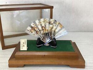 Y2273 OKIMONO Sterling silver Fan glass case Japan antique home decor interior