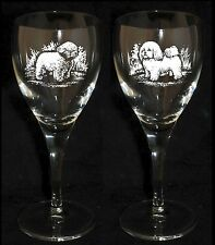 BICHON FRISE GIFT - Boxed  PAIR WINE GLASS *DOG GIFT*