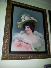 Cuadro Retrato de Mujer siglo XlX Litografia carton Romanticismo Belle Epoque.