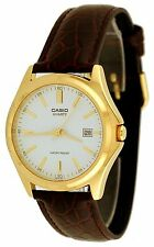 Casio Mens MTP1183Q-7A Gold-Tone Casual Leather Dress Watch Date Analog NEW