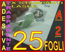 25FOGLI A2 CARTA ADESIVA TRASPARENTE LUCIDA POLIPROPILENE X STAMPANTE LASER PVC