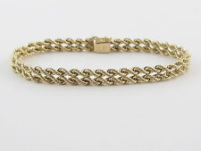 14K Yellow Gold Double Strand Rope Bracelet 7 Inches 14 grams