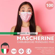 100 MASCHERINE Chirurgiche ROSA Mascherina Chirurgica Monouso FILTRANTE 3 Strati