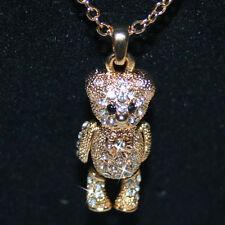 Diamond Alternatives Teddy Bear Pendant Necklace 14k Yellow Gold over Base