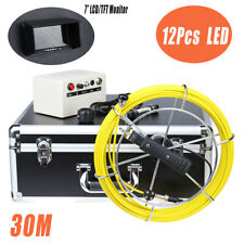 30M Cable Pipe/Wall Pipeline Sewer Snake Inspection Camera w/ 7