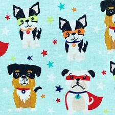 Dog fabric, super dogs cotton, puppy pets animal fun print, min or white, Blake