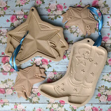 Brown Bag COWBOY BOOT & SHOOTING STAR Cookie Molds & Two SHOOTING STAR Ornaments