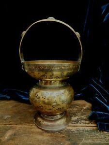 Raj Indian Engraved Brass Holy Water Pot Jeypore School Art Hindu Kamandalu 1860