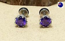 Man Lady Purple Zircon Cubic Stainless Steel Titanium Surgical Earrings Ear Stud