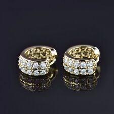 Bridal Design Wedding 14k Gold Filled White Sapphire Crystal Hoop Earrings Gift