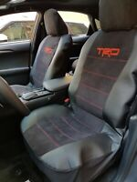 Nice Set Of TRD Design Embroidery Car Seat Covers Black Suede Leather Front Set