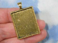 3 Bezel Blanks Trays Charms Pendants Setting Rectangle Gold Finish #P2004