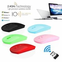 Slim Mice Portable Laptop PC Wireless Mouse with USB Receiver Ultra-thin 2.4GHz