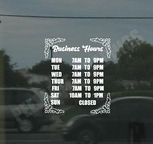 Custom Business Store Hours Sign Vinyl Decal Sticker Window Door Glass Style #5