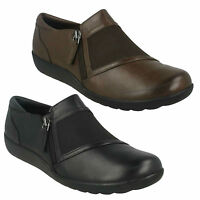 MEDORA GALE LADIES CLARKS SMART FLAT ZIP CASUAL WORK TROUSER LEATHER SHOES SIZE