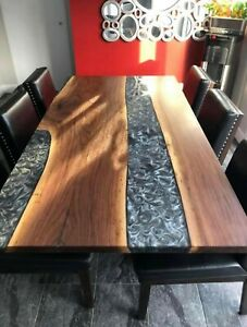 Walnut and Gray Epoxy Resins Dining Table, On Request Amazing Deco Made To Order