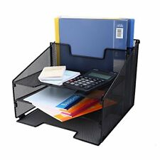 CRUODA Mesh Desktop File Sorter Organizer Desk Tray 3 Letter Trays and 2 Upright