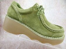 Nos Vtg 90s Y2K dEliA*s Green Leather Suede Chunky Platform Rave Club Boots Us 8