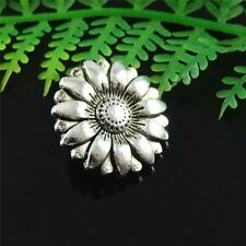 40pcs Antique Silver Alloy Sunflower Sewing Buttons 18mm Crafts Accessories
