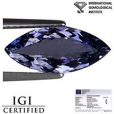 2.26 Ct IGI Certified A+ Natural D Block Tanzanite Marquise Green Blue Violet