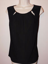 New Tommy Hilifiger round collar black sleeveless career blouse sz M msrp $49