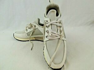 Mens Mallet White & Silver trainers Size 7/8 Leather with elastic fabric