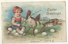 Easter Greetings, Boy sitting on Nest of Eggs Bunny Rabbit and Chick  Postcard