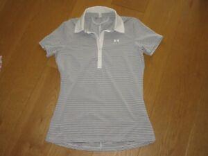 ladies Under Armour grey white stripe golf short sleeve polo shirt, size M