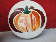 STAINED GLASS GARDEN STEPPING STONE PUMPKIN  SIGNED ONE OF A KIND