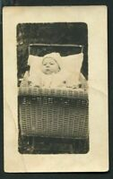 RPPC SWEET BABY w HAT IN WICKER CARRIAGE ANTIQUE REAL PHOTO POSTCARD c 1925