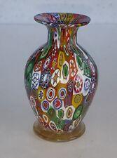 Lovely Campanella Murano Italian Art Glass Millefiori Vase - Foil Paper Label