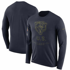 Nike Chicago Bears Navy Salute to Service Sideline Long Sleeve T Shirt Medium