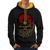 Wellcoda American Football Mens Contrast Hoodie, Skull Face Casual Jumper