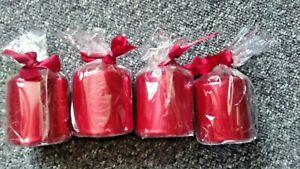 4  Pack of 4 SMALL RED  Metallic PILLAR Candles 6cm x 7.5cm Metallic