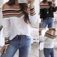 Women Spring Fall Casual One Shouder Long Sleeve Off Shoulder Top Blouse T Shirt
