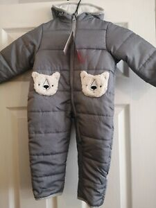 Baby Pramsuit Snowsuit Grey Teddy Bear Quilted Hooded 9months Carters BNWT