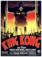 VINTAGE KING KONG MOVIE POSTER A4 PRINT