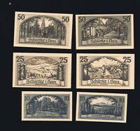 6x Notgeld je 2x 10,25,50 Pf  SCHIERKE i. Harz (heute Stadtteil v. Wernigerode)
