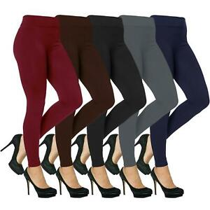 Womens Thermal Leggings Ladies Thick Winter Fleece Lined High Waist Size 8 - 18