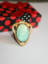 Vintage Czech Sea foam green glass opal Gothic Rococo Victorian designer ring