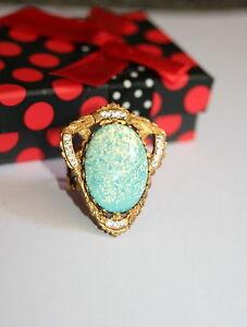 Vintage Czech Sea foam green glass opal Gothic Rococo Victorian designer ring