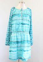 Michael Kors Turquoise Blue Watercolor Geometric Long Sleeve Shift Dress Size 12