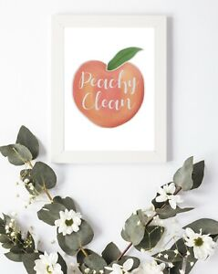 Typography Print A4 Peachy Clean Wash Laundry Bathroom Quote Gift Home Wall