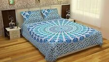 Indian Cotton Mandala Queen Size Bedding Set Ethnic Bed Sheet With 2 Pillows Art