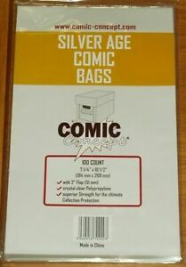 100 x SILVER AGE COMIC CONCEPT COMIC BAGS 267 x 184mm (APPROX) WITH FLAP