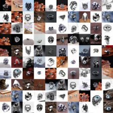 Heavy Stainless Steel Gothic Punk Biker Rings Fashion Mens Skull Jewelry US 8-11