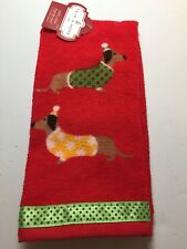 Set of 2 Dachshund Dogs Fingertip Christmas Towels